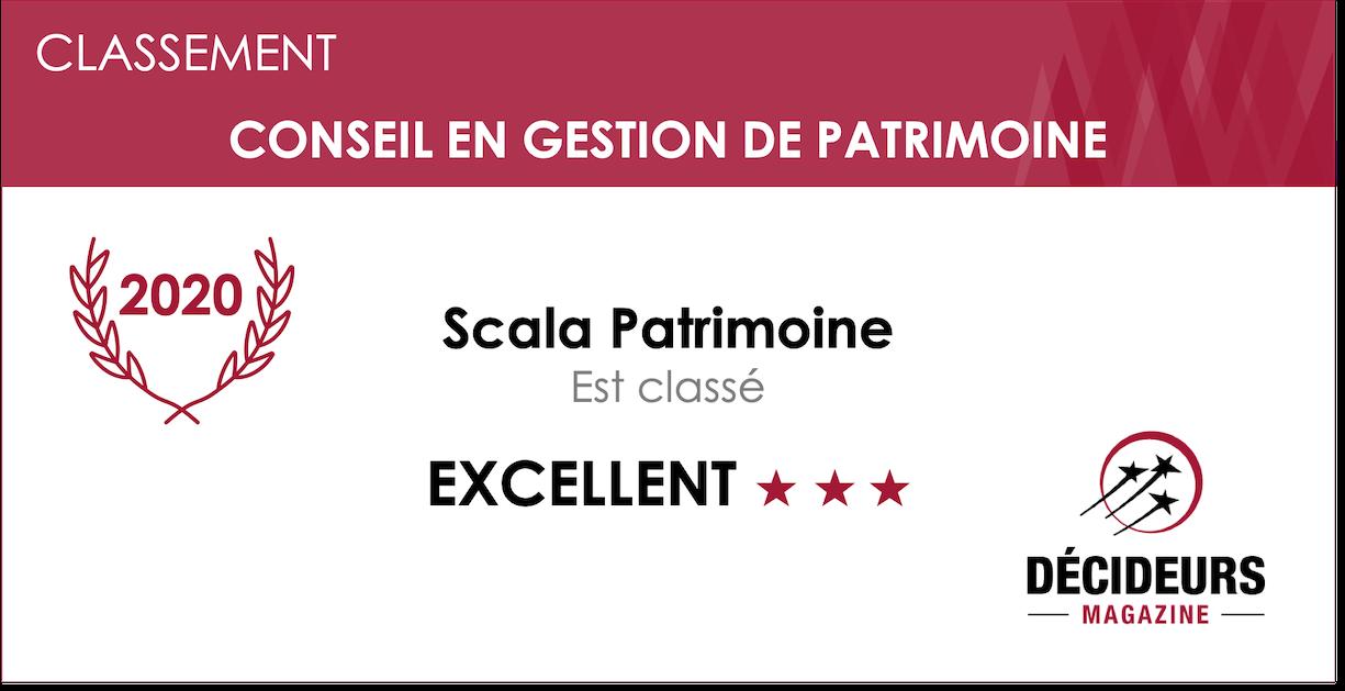 """En 2020, Scala Patrimoine est classé """"Excellent"""" parmi les professionnels de la gestion de patrimoine"""