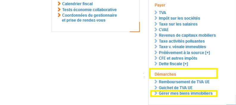"""Le service """"Gerer mes biens immobiliers"""", accessible aux professionnels"""